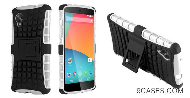 15-HHI Dual Armor Composite Case with Stand for LG Google Nexus 5 - White (Package include a HandHelditems Sketch Stylus Pen)