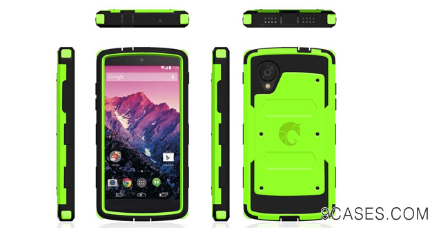 15-i-Blason Armorbox for Google Nexus 5 by LG Dual Layer Hybrid Full-body Protective Case with Front Cover and Built-in Screen Protector and Impact Resistant Bumpers (Green)