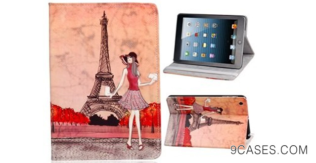 17. Wisedeal Eiffel Tower Dual Fold Faux Leather Protective Case for iPad Mini