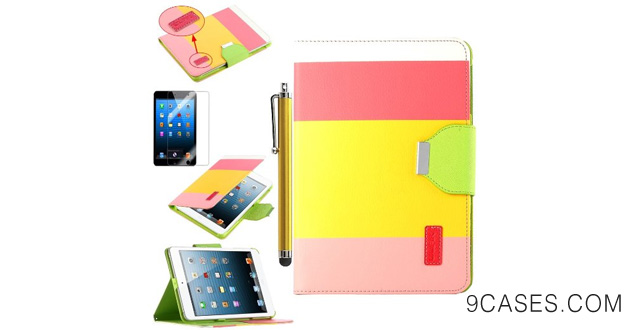 19. Pandamimi ULAK(TM) Smart Cover Red+Yellow+Pink PU Leather Wallet Type Magnet Design Flip Cute Case for With Apple iPad Mini 7.9 Inch (with Auto Wake/Sleep Smart Cover Function)With Stylus and Screen Protector
