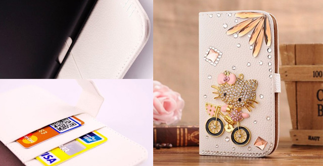 1X NE3C(TM) Nokia Lumia 1520 3D Hot New Designer Leather Quality Bling Crystal Luxury Diamond Cartoon Cute White Flip Wallet Leather Case Cover With Card Holder & Magnetic Flip Horizontal For Girls - Bike Cat Flower
