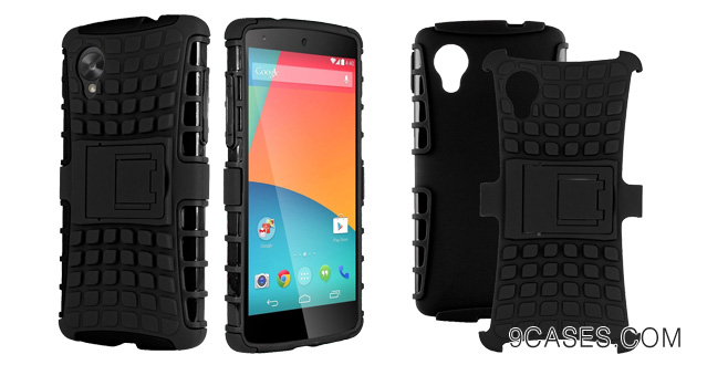 20-HHI Dual Armor Composite Case with Stand for LG Google Nexus 5 - Black (Package include a HandHelditems Sketch Stylus Pen)
