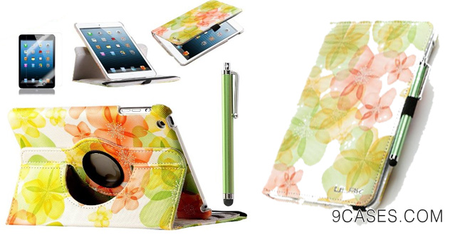 20. Pandamimi ULAK(TM) 360 Rotating PU Leather Folio Magnetic Case Cover with Auto Sleep/Wake Function for Apple iPad Mini 7.9 Inch with Stylus and Screen Protector (Rotate-green flower) -not suit for ipad mini with retina