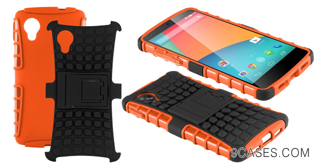 21-HHI Dual Armor Composite Case with Stand for LG Google Nexus 5 - Orange (Package include a HandHelditems Sketch Stylus Pen)