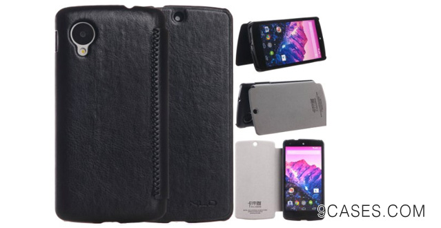 22-KLD Brand New Snap-on Thin Side Flip Synthetic Leather Cover Case for Google Nexus 5 LG Nexus 5 (Black)