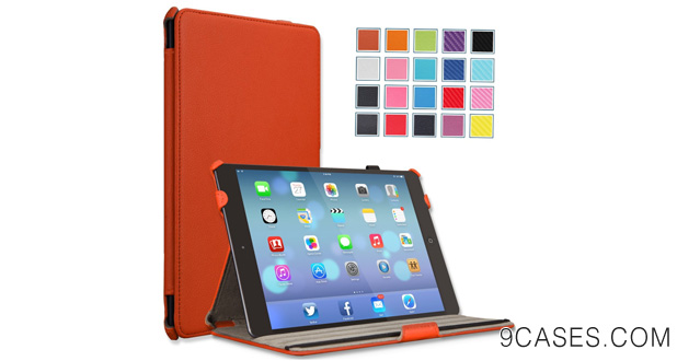 23-MoKo Apple iPad Air Case - Slim-Fit Case with Stand for iPad 5 Air (5th Gen) Tablet, ORANGE (With Smart Cover Auto Wake Sleep)