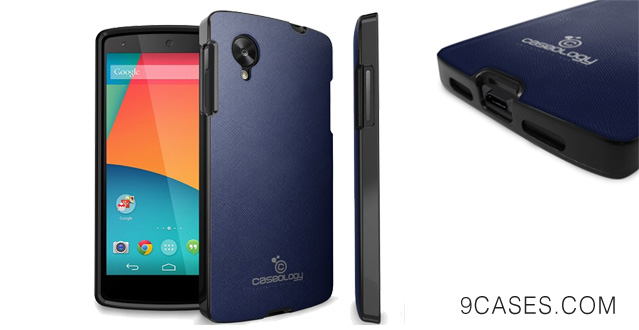 25-Caseology LG Google Nexus 5 [Saffiano Hybrid Series] - Premium Matte Leather Shock Absorbent TPU Bumper Case (Navy Blue) [Made in Korea] (for AT&T Sprint, T-mobile, Unlocked)