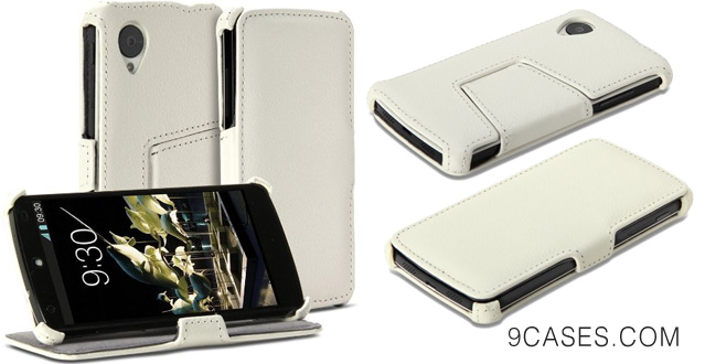 26-GMYLE(R) White PU Leather Magnetic Protective Flip Folio Slim Fit Stand Case Cover for LG Google Nexus 5