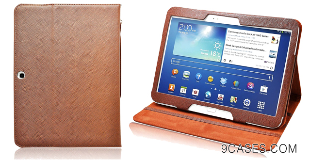 01-COD(TM) Brown Stand Leather Case with Charger and Screen Protector For Samsung Galaxy Tab 3 10.1 Inch 10