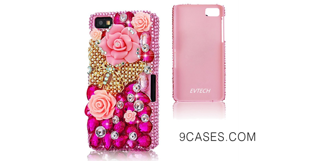 01-EVTECH(TM) 3D Handmade Crystal Butterfly Rhinestone Dimond Disign Case Pink Cover for Blackberry Z10