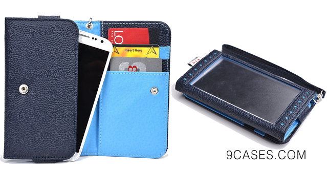 02Universal Phone Case [Expose] Women's Wallet Clutch with Built-in Clear Screen Protector fits BlackBerry Z10 - BLUE