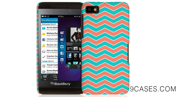 03-Empire Signature Series Slim-Fit Case for Blackberry Z10 - Retail Packaging - Mint Chevron