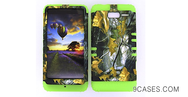 03-Motorola Droid Razr M Xt907 Camo Dried Leaves Heavy Duty Case + Lime Green Gel Skin Snap-On Protector Accessory