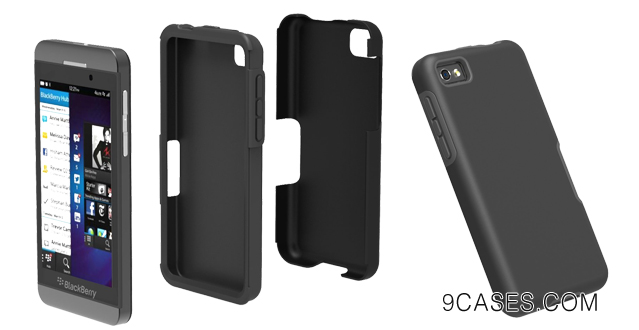 04-Acase Two Layer Protection Case for Blackberry Z10 10 Slim Fit Cover with Soft Touch (Black  Grey)