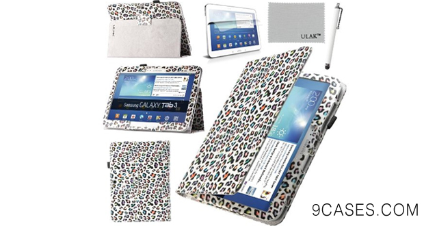 04-Pandamimi ULAK(TM) Folio Slim PU Leather Cover Case for Samsung Galaxy Tab 3 10