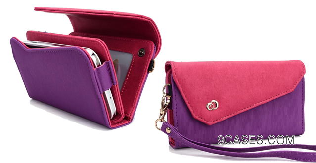 08-Purple Hot Pink Universal Wristlet Women's Tri-Fold Wallet Clutch Carrying Purse Link Series for Motorola Droid RAZR HD (fits Motorola Droid RAZR MAXX HD) Mobile + Envydeal Velcro Cable Tie