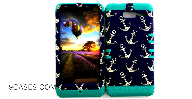 10-Bumper Case for Motorola Droid Razr M (XT907, 4G LTE, Verizon) Protector Case Anchor on Dark Blue Pattern Snap on + Teal Silicone Hybrid Cover