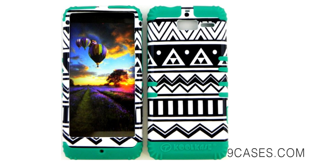 11-Bumper Case for Motorola Droid Razr M (XT907, 4G LTE, Verizon) Protector Case Black and White Aztec Snap on + Teal Silicone Hybrid Cover