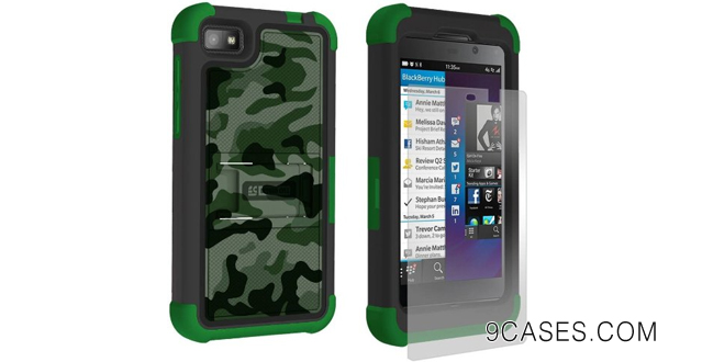 15-Beyond Cell Tri-Shield Durable Hybrid Hard Shell & TPU Silicone Gel Case with Built-In Kickstand for BlackBerry Z10 - Design Camouflage Green
