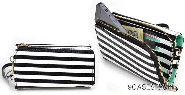 19-Urban Safari BLACK & WHITE STRIPES with MINT GREEN Women's Wallet Wrist-let Shoulder Bag fits BlackBerry Z10 Phone Case