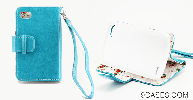 11-IZENGATE Elegant Floral Skin Premium PU Leather Wallet Flip Case Cover Folio Stand for Blackberry Q10 (Turquoise Blue)