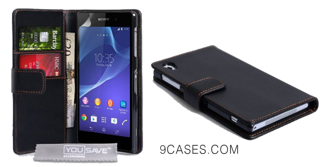 02-Yousave Accessories Sony Xperia Z2 Case Black PU Leather Wallet Cover