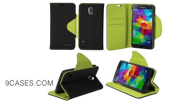 03-AceAbove Samsung Galaxy S5 Case Premium Leather Wallet Case w  Card Slots - Ultra Slim Fit PU Wallet Case for Galaxy S5 - (Black Green)