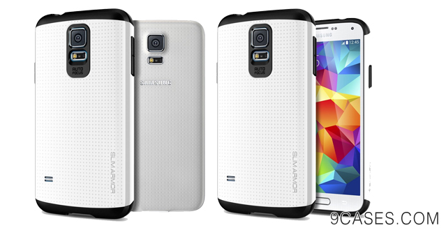 04-Spigen® [AIR CUSHION] Samsung Galaxy S5 Case Slim Armor Slim Armor Shimmery White DOTTED Design Slim Fit Dual Layer Protective Case for Galaxy S5 Galaxy SV  Galaxy S V (2014) - Shimmery White (SGP10755)