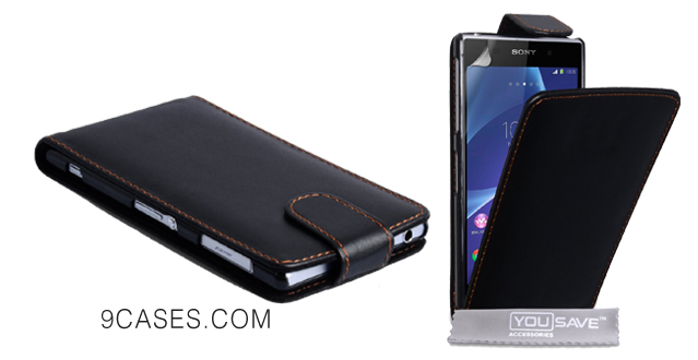 05-Yousave Accessories Sony Xperia Z2 Case Black PU Leather Flip Cover