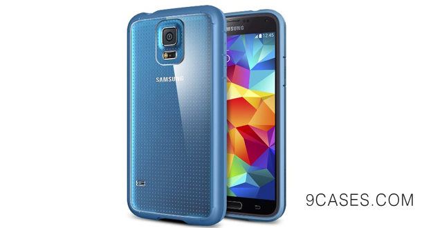 06-AIR CUSHION Spigen Samsung Galaxy S5 Case Bumper New Release ULTRA HYBRID Electric Blue Air Cushion Technology Corners Bumper Case with Clear Back Panel for Galaxy S5