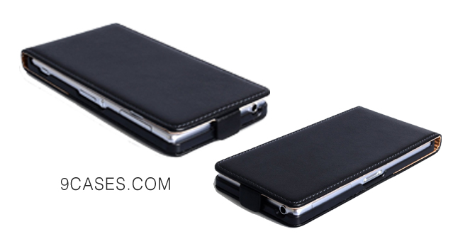 07-Caseflex Sony Xperia Z2 Case Black Genuine Leather Flip Cover