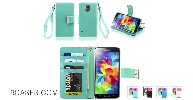 07-IZENGATE Samsung Galaxy S5 Executive Premium PU Leather Wallet Flip Case Cover Folio Stand (Mint)