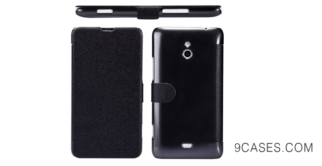 01-Nillkin Fresh Side Flip PU Leather Cover PC Hard Case Shell Compatible for Nokia Lumia 1320 (Black)