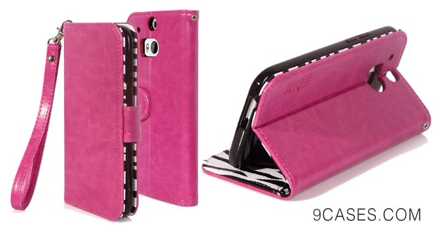 04-E LV Deluxe PU Leather Wallet Case with Card Slots and Premium Zebra Interior Design for HTC One M8 with 1 Stylus-Purple