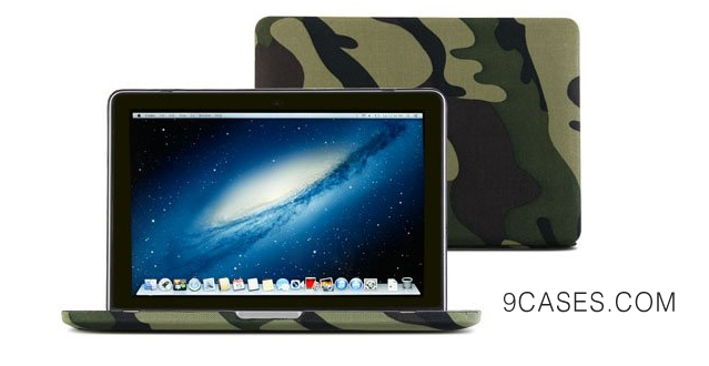 04-GMYLE(R) Woodland Camouflage Camo Fibre Coated Hard Shell Carrying Case Cover with Black bottom case for MacBook Pro 13 inch with RETINA display