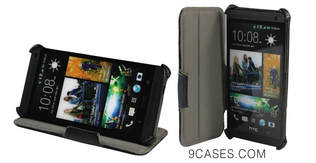 05-EasyAcc® HTC ONE 2 M8(2014 Model) Leather Case Flip Case Cover Bumper Pouch with Stand for HTC ONE 2 M8 - Black  Full Body Protector  Premium PU Leder