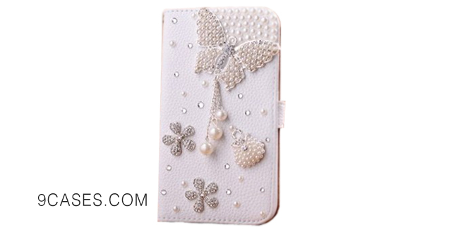 05-Incore Creative HTC One (Incore Creative HTC One M8) Bling Jewelry Diamond Gem Leather Smart Case Cover With Magnetic Flip Horizontals & Card Holder - Pearl Butterfly Flower