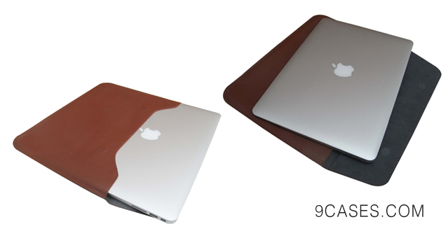 05-Leather Folder Envelope Sleeve Pouch bag case - Dark Brown for MacBook Air 13 or (Pro 13 Retina)