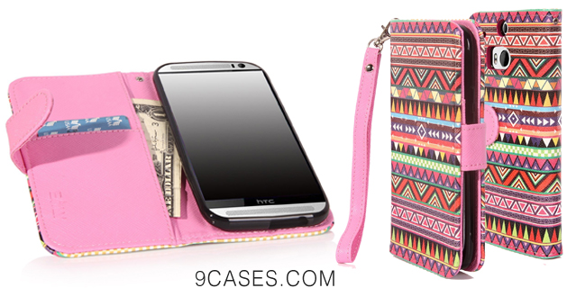 07-E LV Deluxe Tribal Print PU Leather Wallet Case Cover with Card Slots for HTC One M8 with 1 Stylus