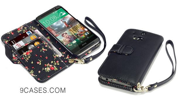 08-Terrapin Premium PU Leather Wallet Case with Card Slots, Cash Compartment and Detachable Wrist Strap for HTC One (M8) 2014
