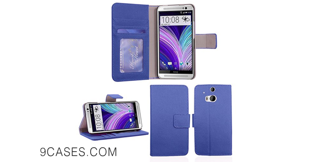 09-[Abacus24-7] New HTC One M8 Wallet Case Flip Cover PocketBook [Blue]