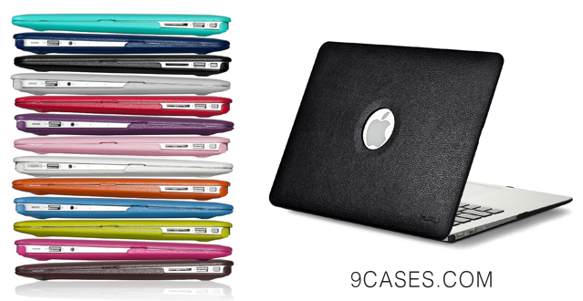 new arrival bc284 f418b 09-Kuzy – LEATHER – BLACK Hard Case Cover for Apple MacBook Air 13 ...
