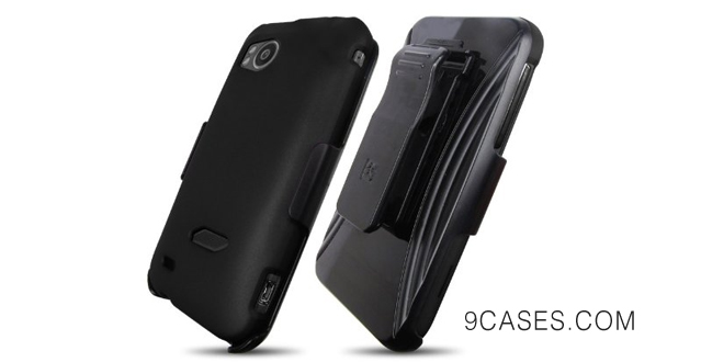 10-HTC Screen Guard Holster Case Combo with Kickstand –(Black)