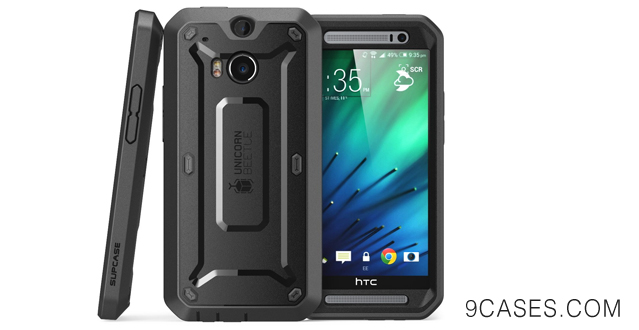 10-SUPCASE All New HTC One M8 Case - Unicorn Beetle PRO Full-body Hybrid Protective Case with Built-in Screen Protector (Black Black)