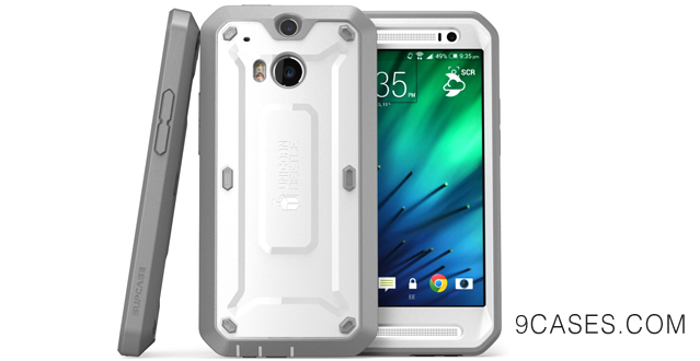 11-SUPCASE All New HTC One M8 Case - Unicorn Beetle PRO Full-body Hybrid Protective Case with Built-in Screen Protector (WhiteGray) - Dual Layer Design + Impact Resistant Bumper for HTC One 2014 Release