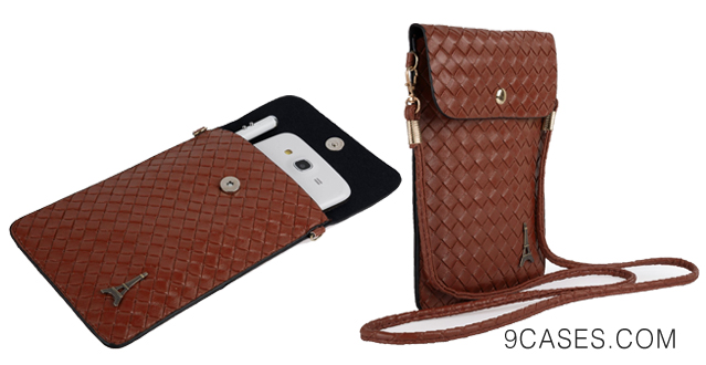 17-Braided Leather Carrying Bag Pouch Case for Nokia Lumia 1520 1320  Icon XL  X  X  1020  625  928  925  720  520  521  525 Windows Phone + Stylus Pen + Auxiliary Cable + Windshield Mount (Brown)