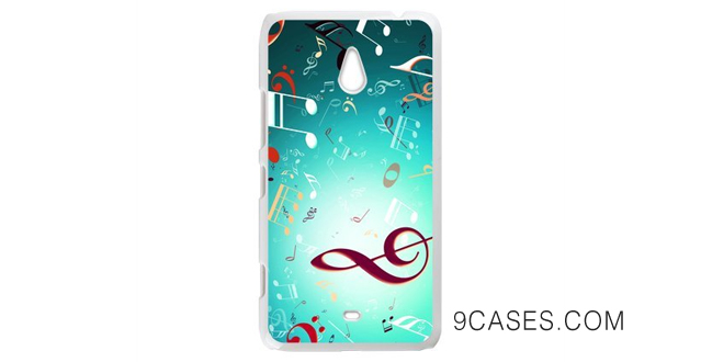 19-Charming Musical Notes Fationable Design Custom Hard Plastic Back Protective Case for Nokia Lumia 1320 (Laser Technology)
