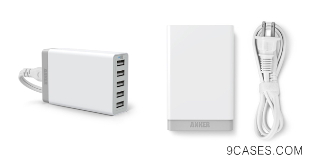 01-Anker® 40W 5-Port Family-Sized Desktop USB Charger with PowerIQ™ Technology for iPhone 5s 5c 5; iPad Air mini; Galaxy S5 S4; Note 3 2; the new HTC One (M8); Nexus and More (White)