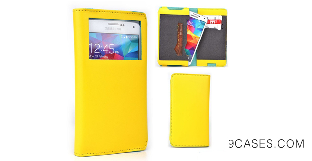 02-OPPO Find 7 Cover Universal Unisex Bi-fold Wallet YELLOW & BLUE