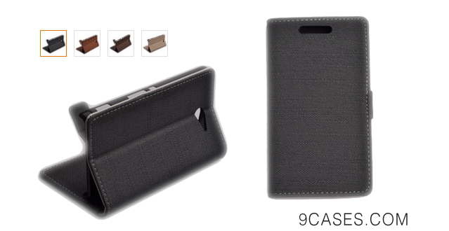 04-Einzige Slim Fit Leather Case Cover with Stand & Card Slot for Sony Xperia M2 with Free Universal Screen-stylus (Straw Mat Pattern) (Black)